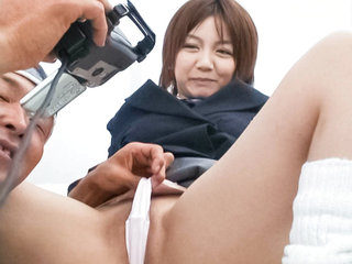 Meguru Kosaka sucks hard cock on her knees